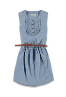 Lemokiz New Design Pintuck ruffle front belted chambray denim Bodydoll Dresses for Girls