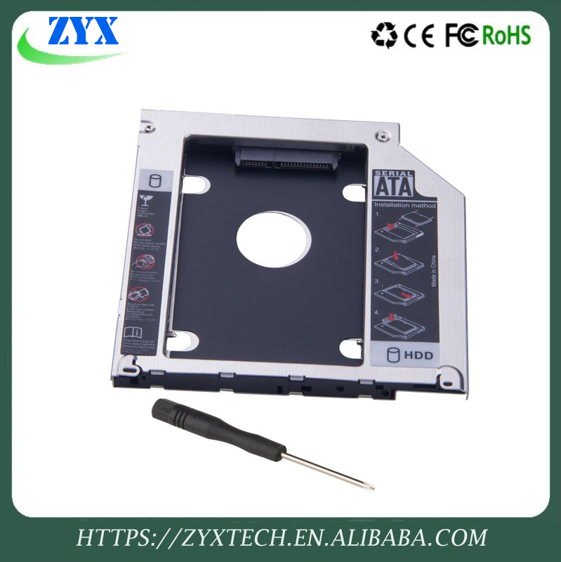 "niversal 9.5mm Aluminum Second HDD Caddy SATA 3.0 for 2.5"" SSD Case HDD Enclosure for Notebook hard drive bracket"