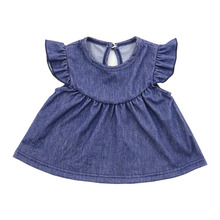 simple dress for small kids baby girls cotton clothing girls knit denim dress
