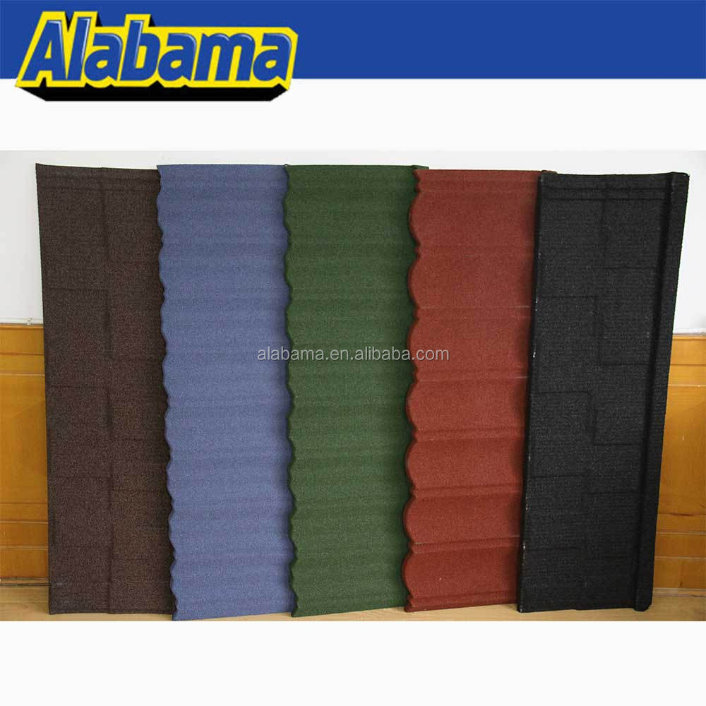 Colorful Portuguese Zinc Steel Make Villa Blue Glazed Building Material Stone Coated Metal Roof Tile