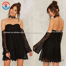 Crochest overlay A-line off-shoulder cropped bell sleeve black Lace dress