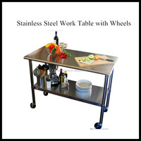 Heavy Duty Dental Lab Work Table Stainless Steel with Wheels