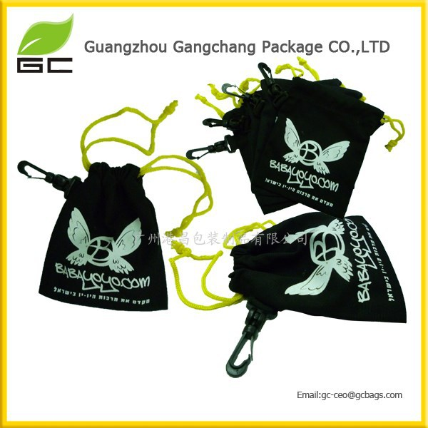 Hook Cheap Small Yellow Rope 8oz Black Cotton Drawstring Bag