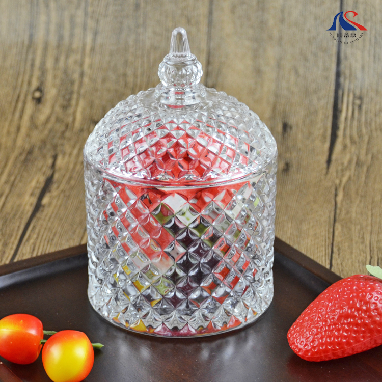 Home Decoration High White Material Straight Candy Pot , Diamond Design Barrel Shape Snack Jar