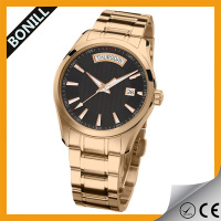 2016 gold bands metal waterproof man steel quartz watch gold plated
