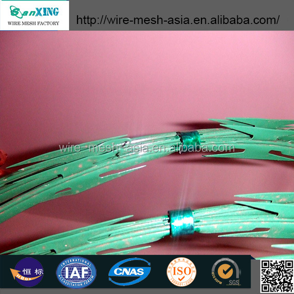 green/white color powder coated razor barbed wire