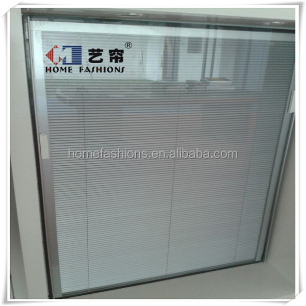 Aluminum Door Glass Inserts Blinds Office Hollow Blinds