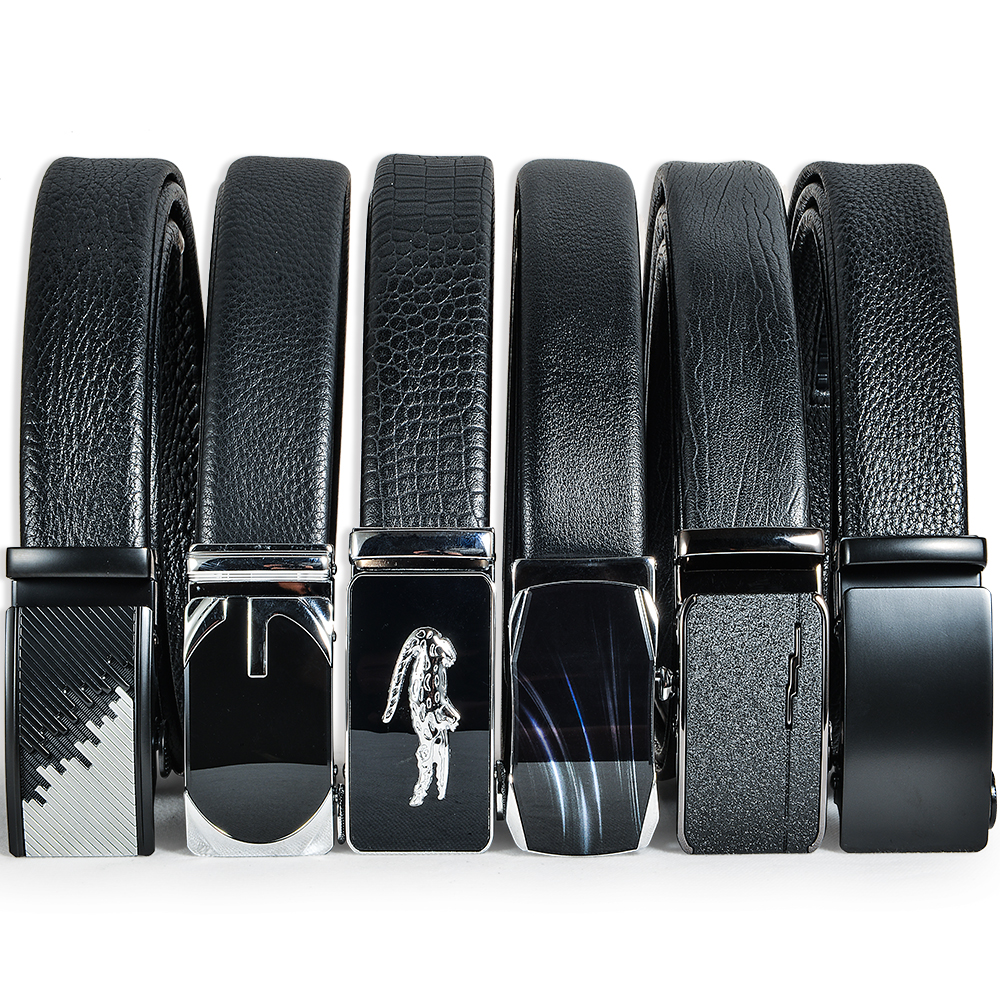 Durable eco-friendly Men's Leather Ratchet Dress Belt with Automatic Buckle