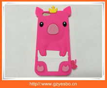 cute 3D silicon pig case for iphone 6 plus soft silicone back cover case , Cellphone cover for iphone 6