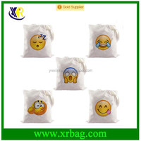 Emoji Canvas Cotton Shopping Foldable Reusable Grocery Tote Bags College Bag