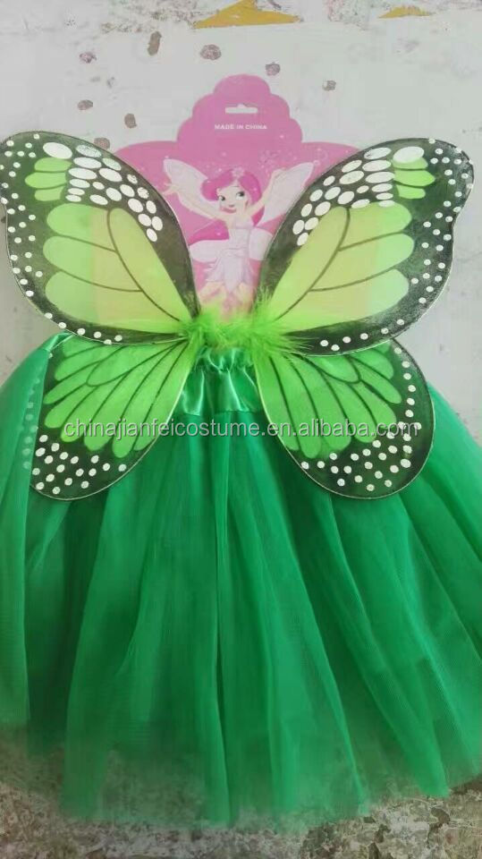 Child Girls Sequined Butterfly Angel Wings + Tutu Skirt Halloween Christmas Party Cosplay