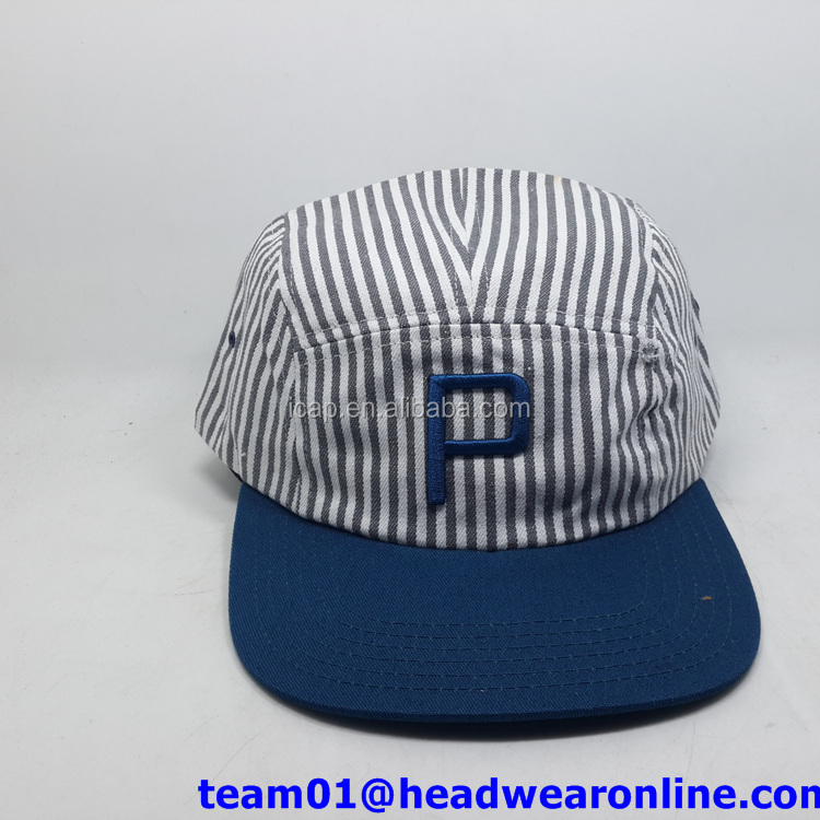Cool Flat Brim Custom stripe Cotton leather strap 5 Panel Hat