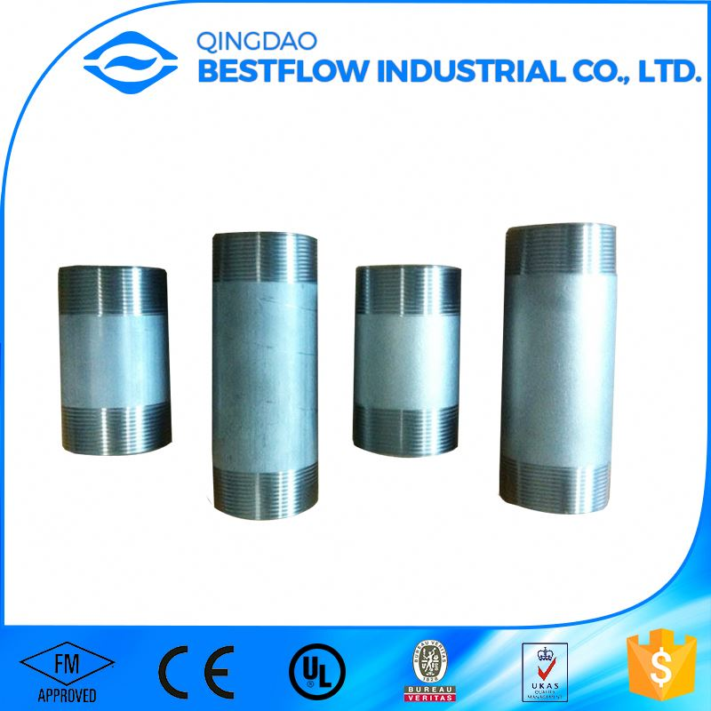 Carbon steel pipe coupling nipple with pvc caps