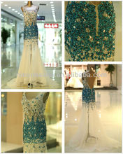 Sexy 2014 Sheer Mermaid Formal Evening Gown Blue V-Neck Backless Full-length Crystal Long Prom Dresses NB074