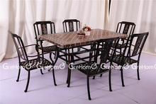 cast aluminum furniture patio table and chair