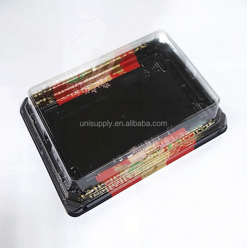 Disposable New Design Polystyrene Foam Sushi Box Tray with Clear Lid