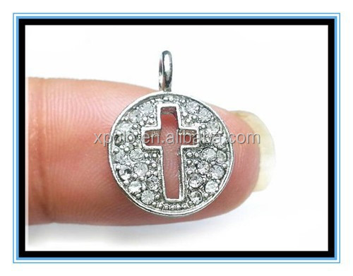 2015 factory price rhinestone crystal cross pendant charm silver & gold plating