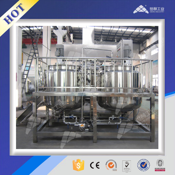 Closed emulsifying mixing homogenizer with jacket