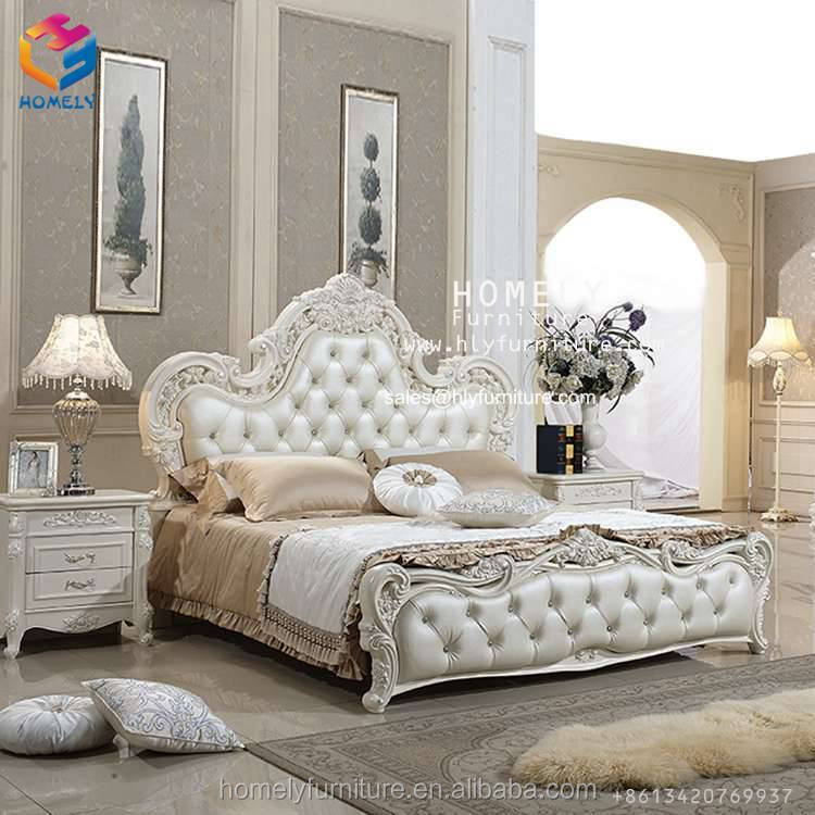 Luxury wooden Rococo french baroque provincial princess king size bed