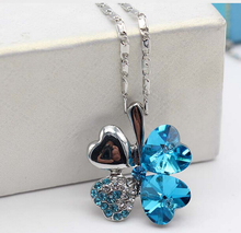 Crystal peach heart four leaf clover pendant fashion necklace! Love heart crystal necklace! wholesale