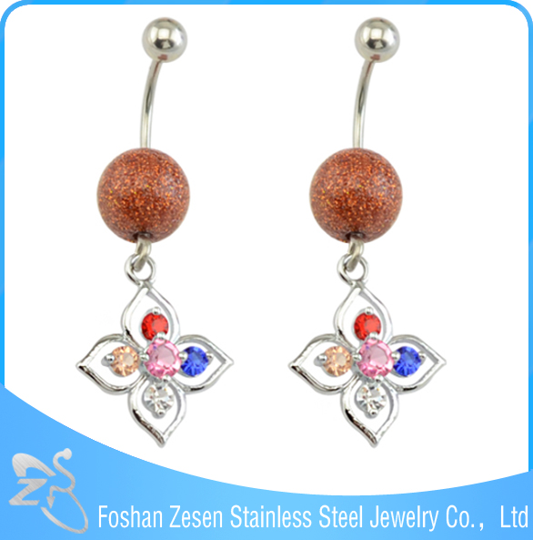 New season stainless steel hypoallergenic hanging artificial ball navel belly button ring