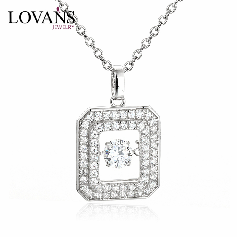 925 Sterling Silver Dancing Stone Big Square Pendant Design