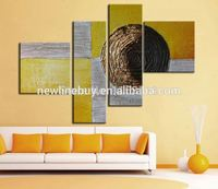 4 panel wall decor modern art set abstract tree ring hand painted Oil carving Painting on Canvas for living room