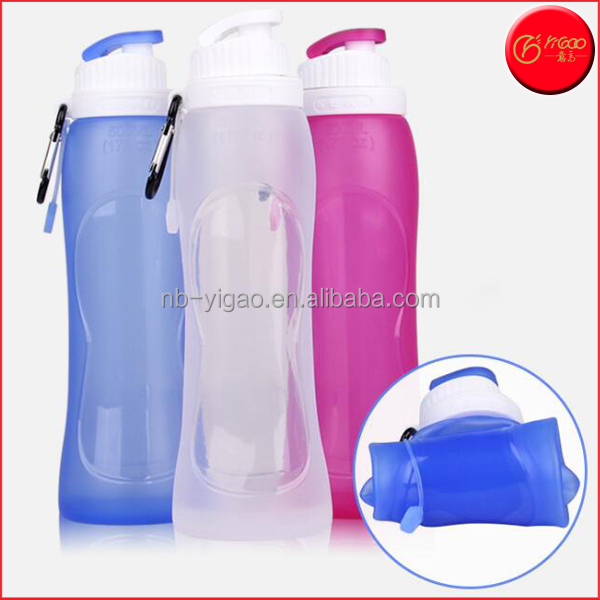 500ML Collapsible Silicone Sport Water Bottle BPA-Free Foldable Double Leak Proof Sports Bottle