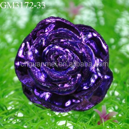 decorative artificial glass flower with glitter