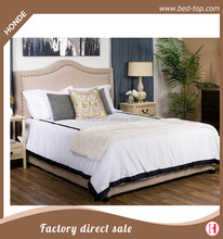 Luxury upholstered fabric linen double bed with button headboard
