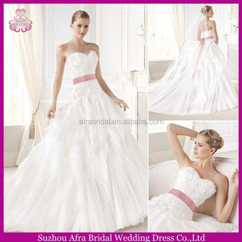 SD089 sweetheart lace bodice puffy bridal dress with pink sash wedding dress philippines