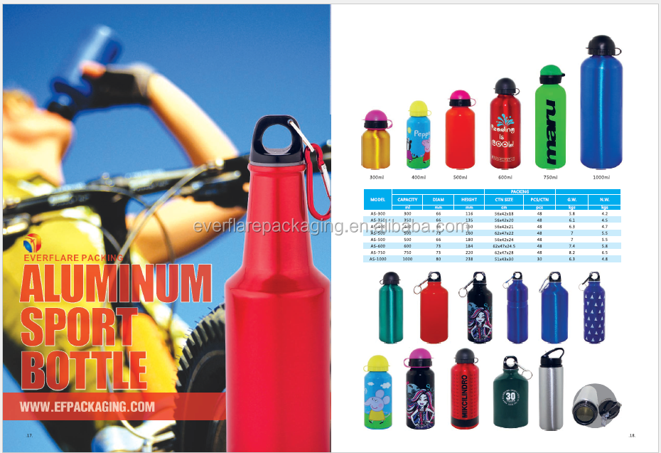 BPA free metal type drinkware water aluminum sport bottle