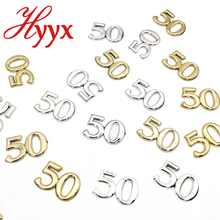 HYYX Metallic table confetti numerical 50 for 50th birthday party