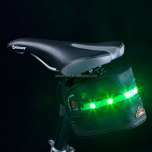 LED Light Electric Bike Battery Carry Bag, Black Bike Bag Bicycle Saddle Bag LED Warning Light,Hot LED Electric Bike Battery Bag