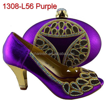 african shoes and bag 1308-L56 purple