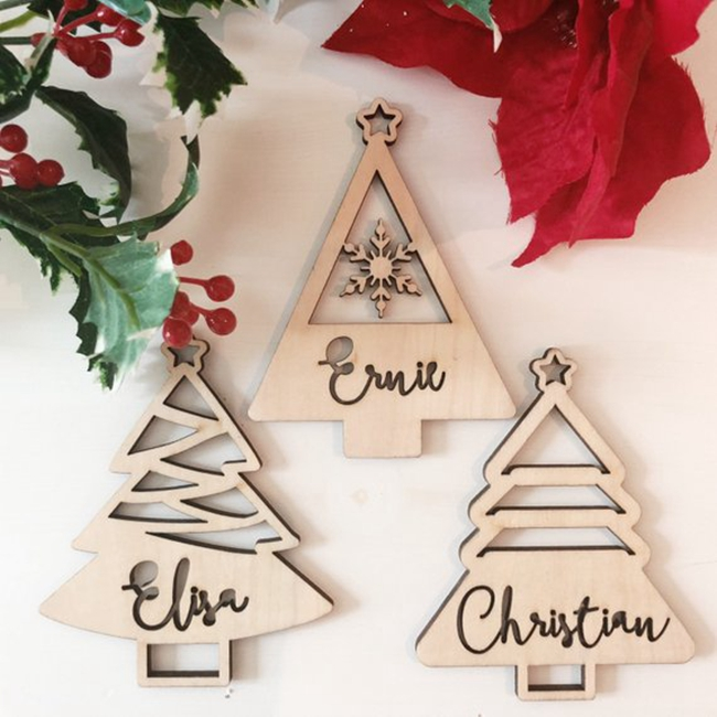 Christmas tree decor laser cut wood christmas ornament