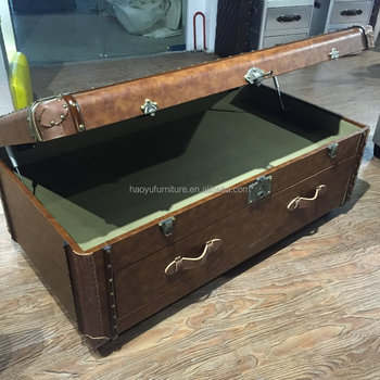 X020 leather decorative vintage storage trunk