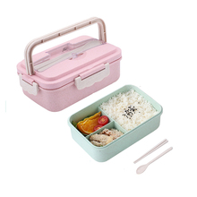 1000ML Wheat Straw Lunch Box With Handle Bento Box For Kids Women Men With Chopsticks Spoon