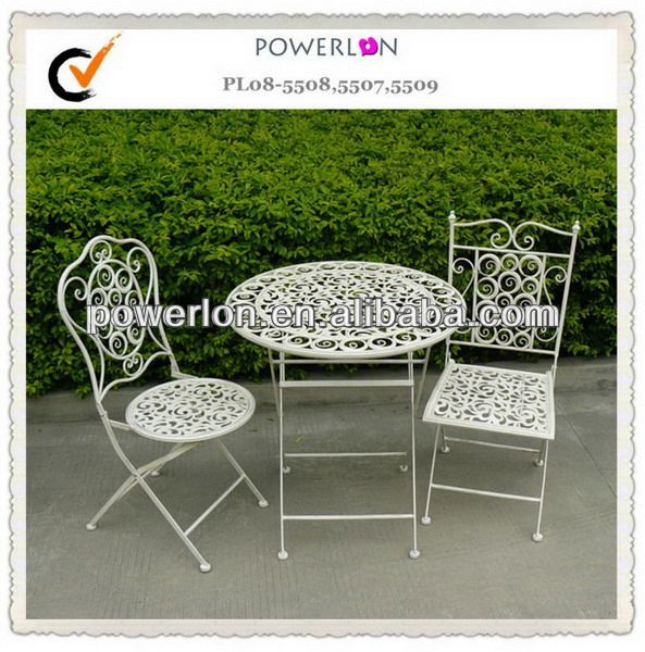 powerlon vintage franz sisch stil gartenm bel metall bistro set set im garten produkt id. Black Bedroom Furniture Sets. Home Design Ideas