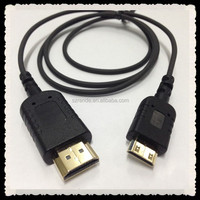 flexible mini hdmi cable OD=2.5mm ultra slim hdmi a type to c type cable