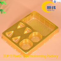 Gold disposable plastic divided food tray for chocolate