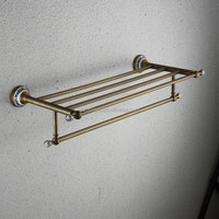 Classical style bathroom brass metal towel rack shelf with ceramic base crystal accessories bathroom towel rack