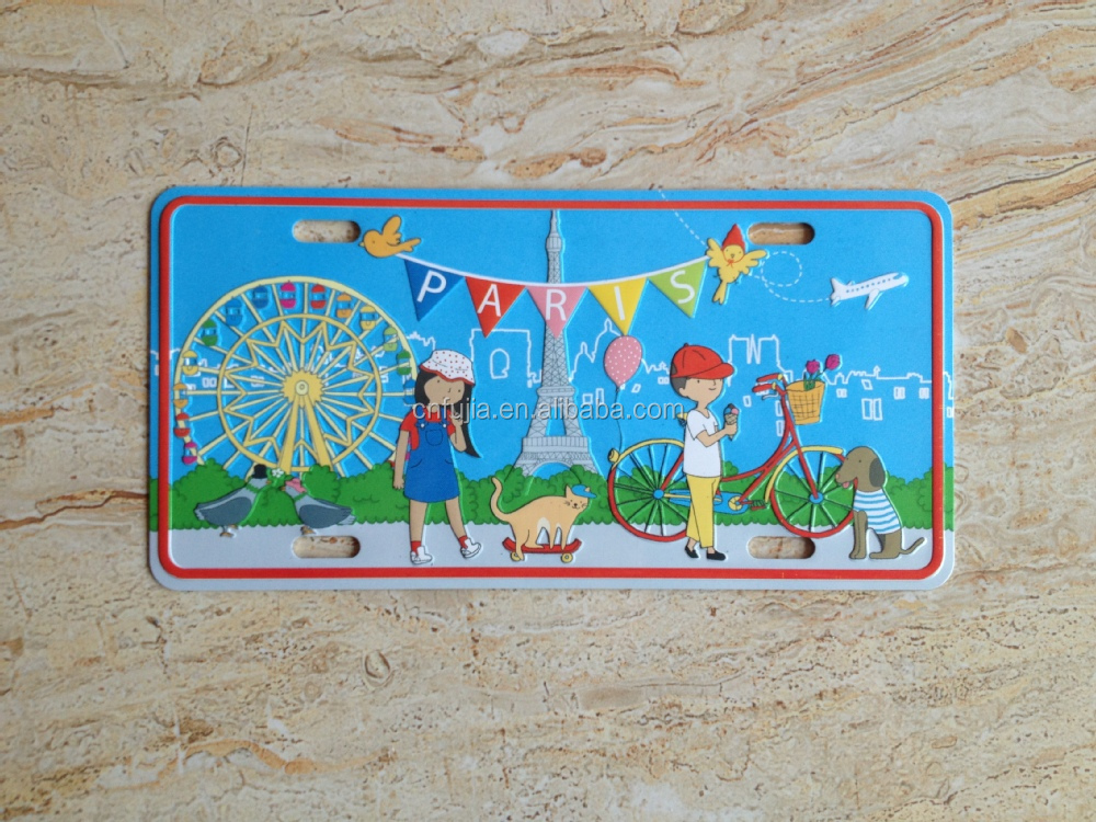 France Full color embossed printing firdge magnet, souvenir metal magnet, custom metal magnets