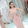 Pink Heavy Beaded Evening Dresses Long Halter Plunging Neckline Back See Through Mermaid Evening Gown Party Dress