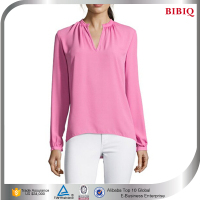 Pink Crepe V-neck Lady Blouse