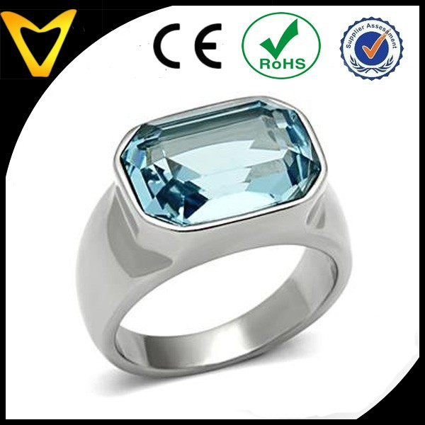 Fashion Crystal Ring, Diamond Ring for Men, Stainless Steel Emerald Cut Aquamarine Crystal Right Hand Ring