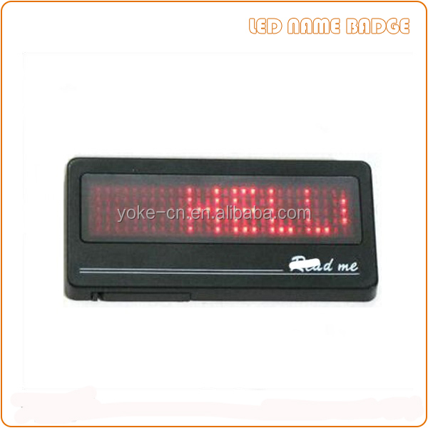 5*28 dot matrix red led name badge with magnet