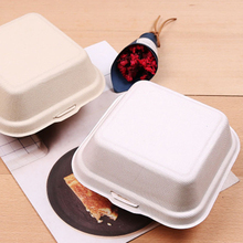 Custom pulp disposable bento box biodegradable food container bamboo lunch box food delivery packaging bamboo hamburger box