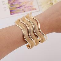 FC109 golden mesh S-shaped curved metal cuff bracelet glow stick dollar store bracelets for women