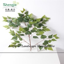 SJZJN 411 Artificial Unique Ginkgo / Ficus/ red Maple tree Leaves / Fake Tree leaves Evergreen leaves Hot Sale in China